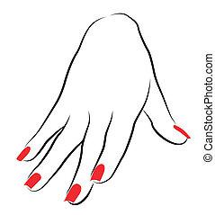 femininas, palma, vermelho, manicure