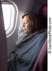 femininas, passageiro, dormir, coberto, com, blanket.