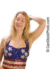 femininas, patriota, americano, atraente