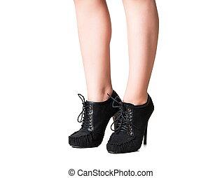 femininas, pernas, com, a, sapatos