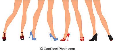 femininas, pernas, em, desenhista, sapatos