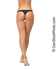 femininas, pernas, panties, biquíni, pretas