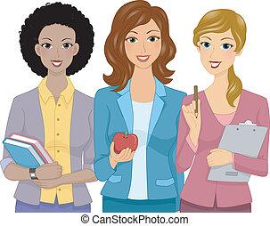 femininas, professores