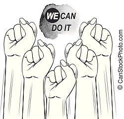 femininas, punhos, protesto
