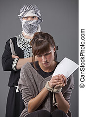 femininas, refém, e, terrorista