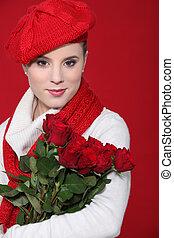 femininas, roses., segurando, modelo, vermelho, grupo