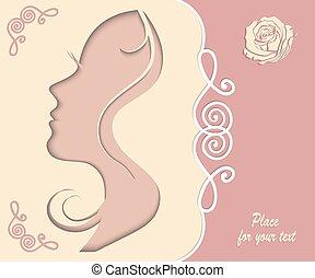 femininas, silueta, recorte, de, papel