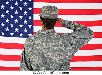 femininas, soldado, saudando, bandeira