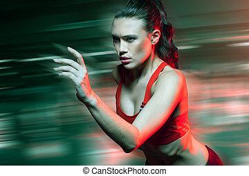 femininas, sprinter, executando, em, velocidade