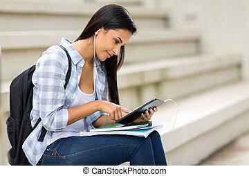 femininas, tabuleta, universidade, computador, estudante, usando