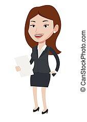 femininas, televisão, anchorwoman, vetorial, illustration.