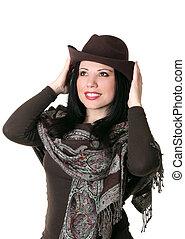 femininas, tentar, um, marrom, feltro, chapéu