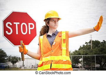 femininas, trabalhador construção, dirige, tráfego