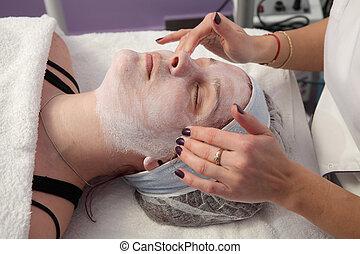femininas, tratamento, jovem, beleza, rosto