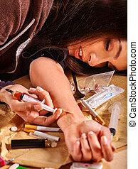 femininas, viciado drogas, syringe.