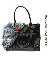 Feminine bag with scarf and red rose