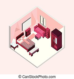 Feminine Bedroom Isometric Home Interior Illustration Design