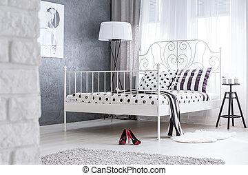 Feminine bedroom with metal bed - Feminine bedroom with grey...