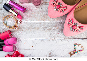 Feminine cosmetic background. Overhead of essentials fashion...