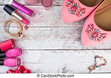 Feminine cosmetic background. Overhead of essentials fashion...