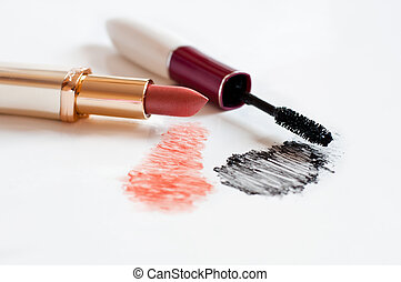 Feminine cosmetics on a light background