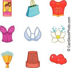 Feminine gender icons set, cartoon style