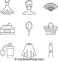 Feminine gender icons set, outline style