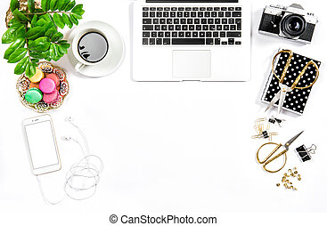 Feminine home office desk Business Hero header social media