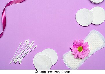 Feminine Hygiene Concept, Woman's Sanitary Products on Pink Background