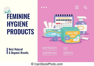 Feminine hygiene natural organic products flat advertising sale banner with menstrual calendar tampons pads panty liners vector illustration