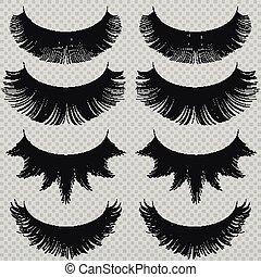Feminine lashes vector set. Realistic false eyelashes fashion collection