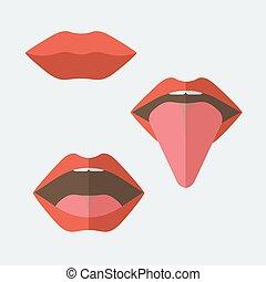 Feminine lips - Collection of vector feminine lips