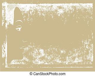 feminine person on grunge background, vector illustration