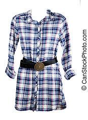 Feminine plaid shirt and leather belt