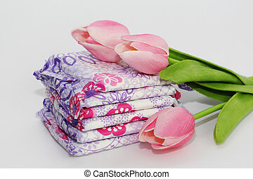Feminine sanitary pads in the package on a white background.