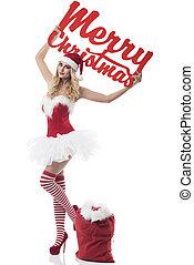 Feminine santa claus with christmas sign