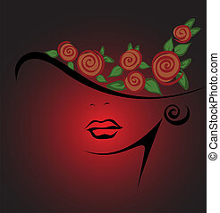 feminine silhouette in a hat with red roses on a black ...
