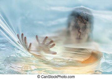 Feminine silhouette - Beautiful woman in shower silhouette...