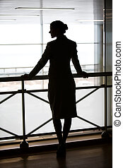 Feminine silhouette - Silhouette of business lady�s back...