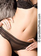 Feminine torso - Close-up of beautiful female?s body in...