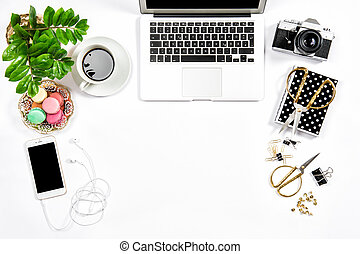 Feminine workplace still life Office supplies laptop