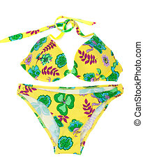 Feminine yellow swimsuit with pattern in form flower ...