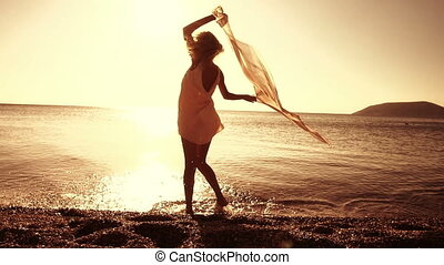 Femininity At Sunset - Sunset on the beach concepts. Super...