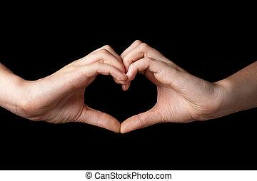 feminino adolescente, mãos, mostrando, coração, símbolo