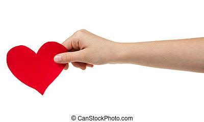 feminino adolescente, passe segurar, coração papel