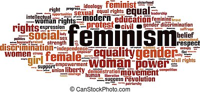 Feminism-horizon.eps - Feminism word cloud concept. Vector...