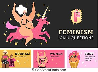 Feminism Horizontal Banners - Feminism set of horizontal...