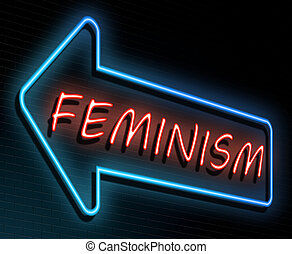 Feminism neon concept. - Illustration depicting an...