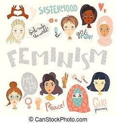 feminism., portraits, collection, s, signes, féminisme, femmes
