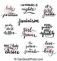 Feminism quotes set. Handwritten modern